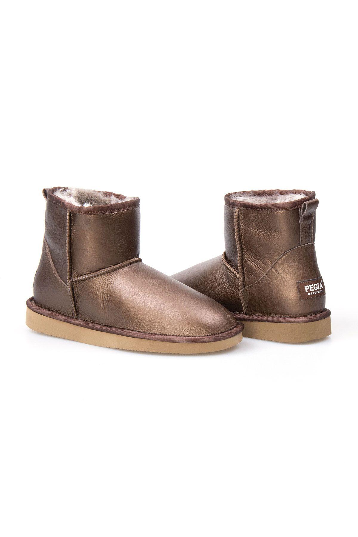 Pegia Genuine Sheepskin Metallic Women's Boots 191108 Brown