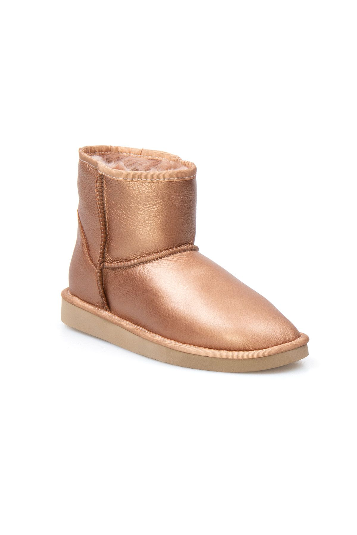 Pegia Genuine Sheepskin Metallic Women's Boots 191108 Ginger