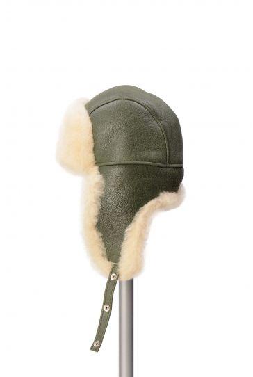 Pegia Hakiki Kürklü Pilot Şapka 19SB03 Yeşil