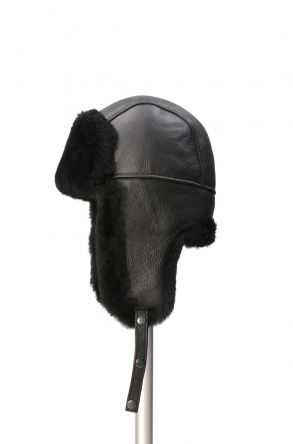 Pegia Sheepskin Pilot Hat 19SB03 Black