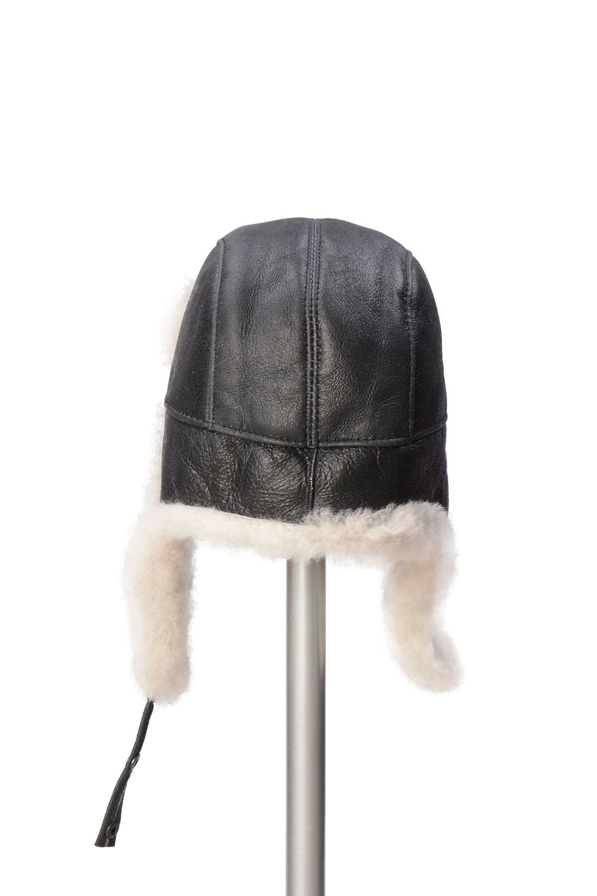 Pegia Sheepskin Pilot Hat 19SB03 Anthracite-colored