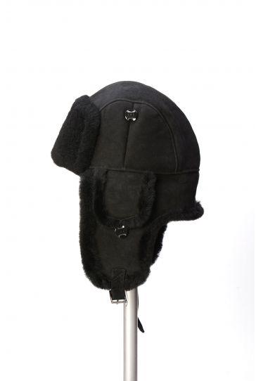 Pegia Hakiki Kürklü Şapka 19SB01 Siyah