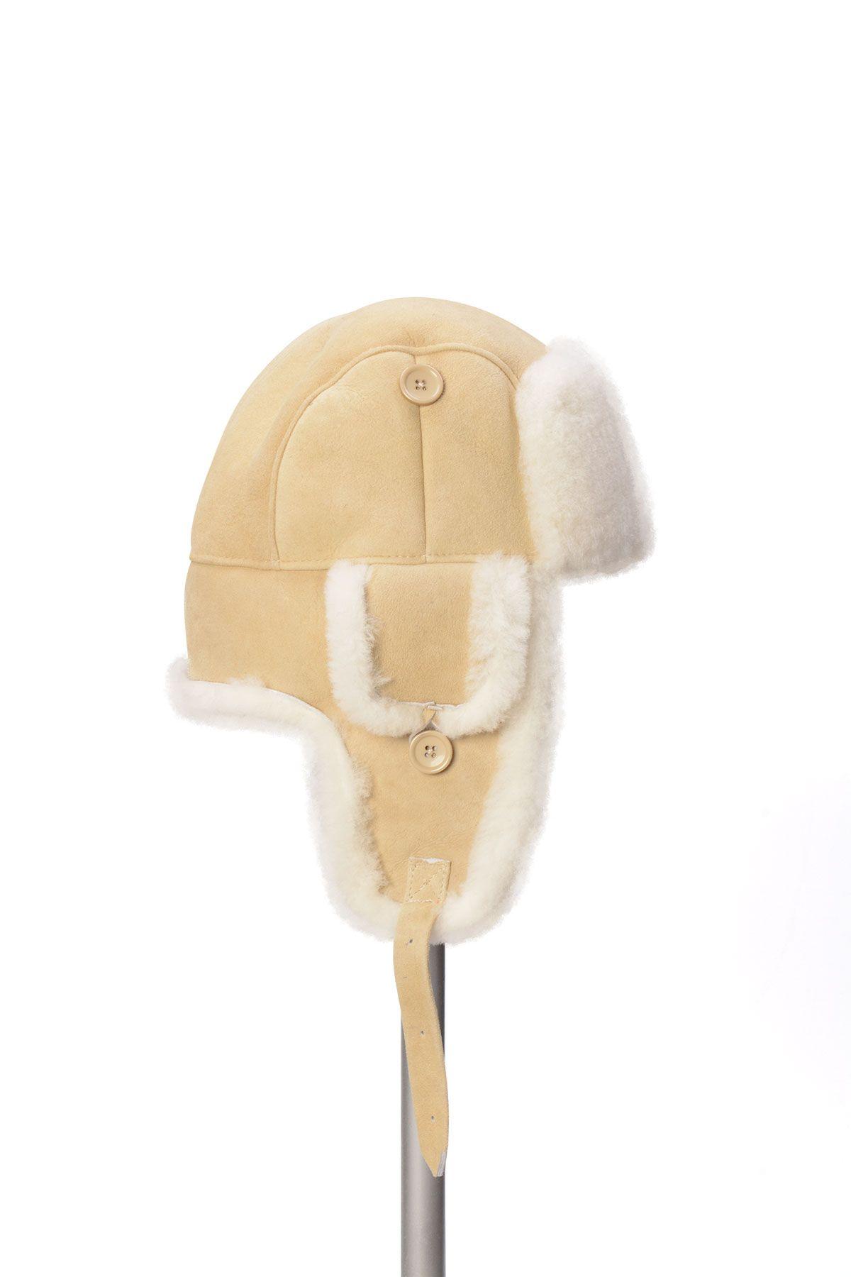 Pegia Hakiki Kürklü Şapka 19SB01 Bej