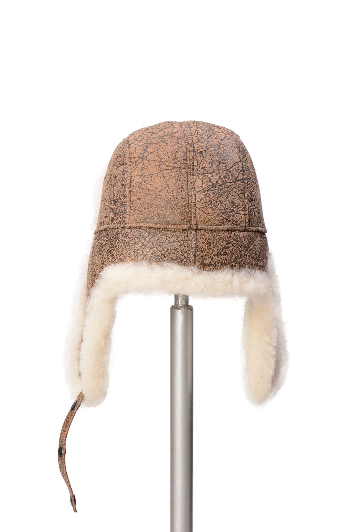 Pegia Hakiki Kürklü Şapka 19SB04 Kahve
