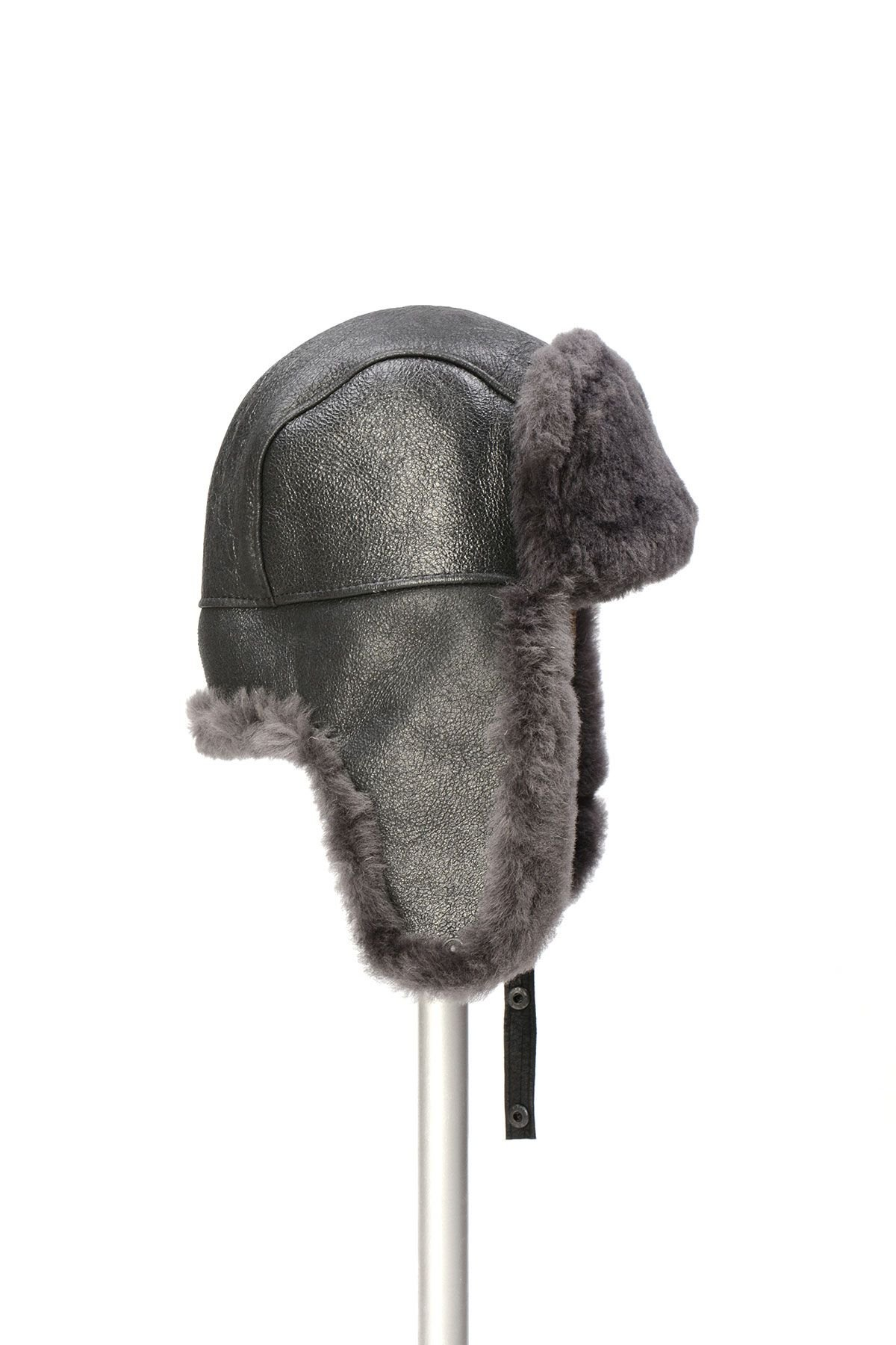 Pegia Genuine Sheepskin Hat 19SB04 Anthracite-colored