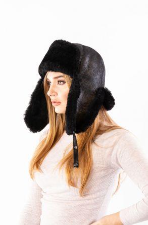 Pegia Hakiki Kürklü Şapka 19SB05 Siyah