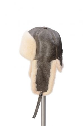 Pegia Genuine Sheepskin Hat 19SB05 Anthracite-colored