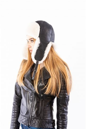 Pegia Hakiki Kürklü Şapka 19SB06 Siyah