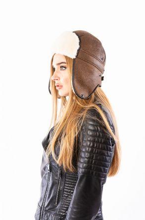 Pegia Hakiki Kürklü Şapka 19SB08 Sahra