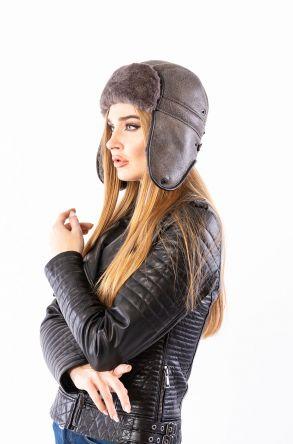 Pegia Hakiki Kürklü Şapka 19SB08 Gri