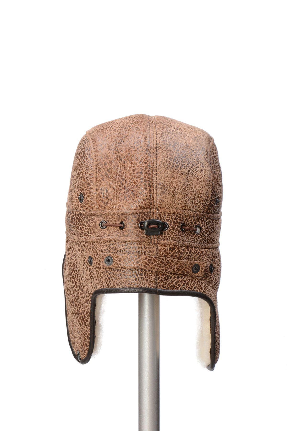 Pegia Hakiki Kürklü Şapka 19SB08 Taba