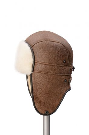 Pegia Genuine Sheepskin Hat 19SB08 Sand-colored