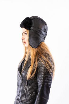 Pegia Hakiki Kürklü Şapka 19SB11 Siyah