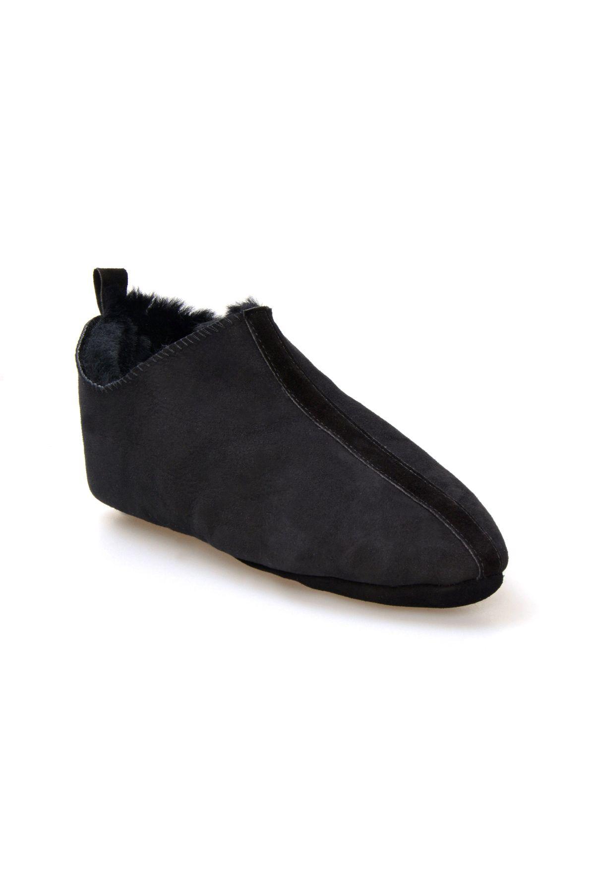 Pegia Men's Home Suede Sheepskin Slippers 111009 Dark Gray