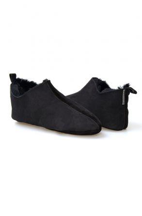 Pegia Hakiki Kürklü Süet Erkek Ev Ayakkabısı 111009 Füme