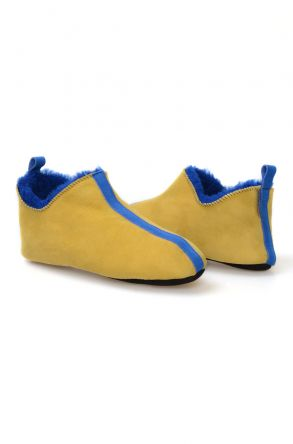 Pegia Men's Home Suede Sheepskin Slippers 111009 Yellow