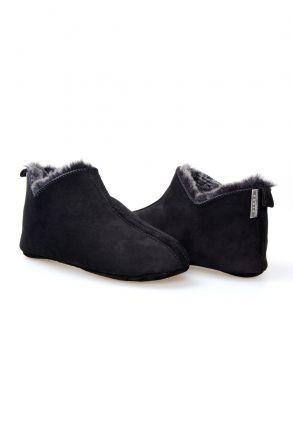 Pegia Men's Home Suede Sheepskin Slippers 111009 Black