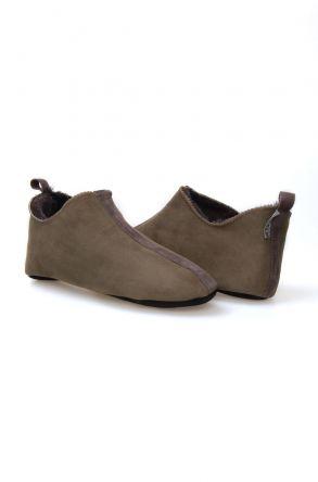 Pegia Hakiki Kürklü Süet Erkek Ev Ayakkabısı 980419 Haki