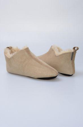 Pegia Hakiki Kürklü Süet Erkek Ev Ayakkabısı 980424 Krem