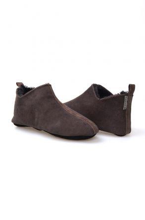 Pegia Hakiki Kürklü Süet Erkek Ev Ayakkabısı 980428 Kahve