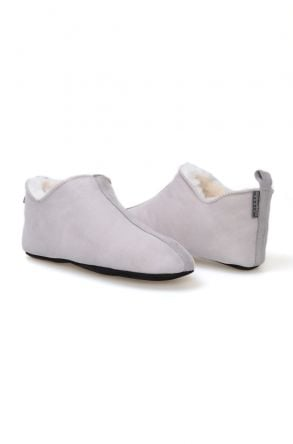 Pegia Genuine Sheepskin Suede Men's Home Shoes 980430 Gray