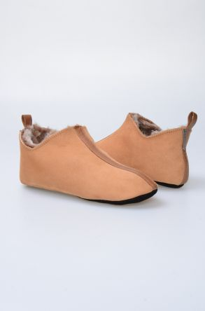 Pegia Genuine Suede Sheepskin Men's Home Slippers 980436 Ginger