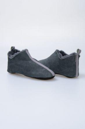 Pegia Genuine Suede Men's Home Slippers 980453 Anthracite-colored