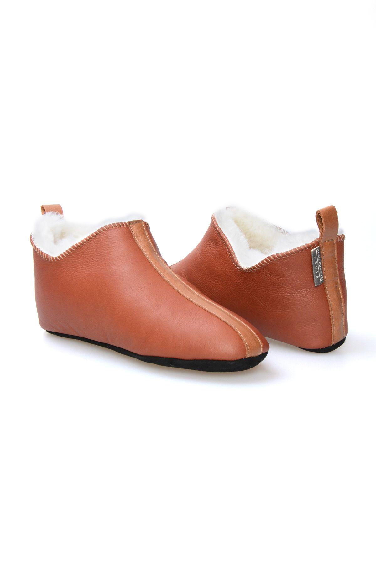 Pegia Hakiki Kürklü Süet Erkek Ev Ayakkabısı 980477 Taba