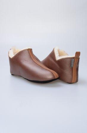 Pegia Hakiki Kürklü Süet Erkek Ev Ayakkabısı 980492 Kahve