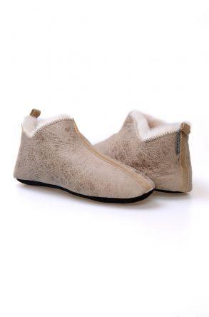 Pegia Hakiki Kürklü Süet Erkek Ev Ayakkabısı 980501 Yeşil