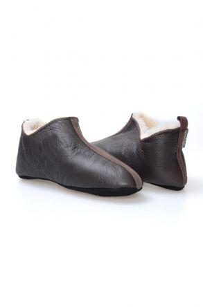 Pegia Hakiki Kürklü Süet Erkek Ev Ayakkabısı 980510 Kahve