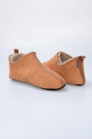 Pegia Hakiki Kürklü Süet Erkek Ev Ayakkabısı 980523 Taba