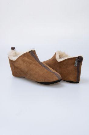 Pegia Hakiki Kürklü Süet Erkek Ev Ayakkabısı 980549 Açık Kahve