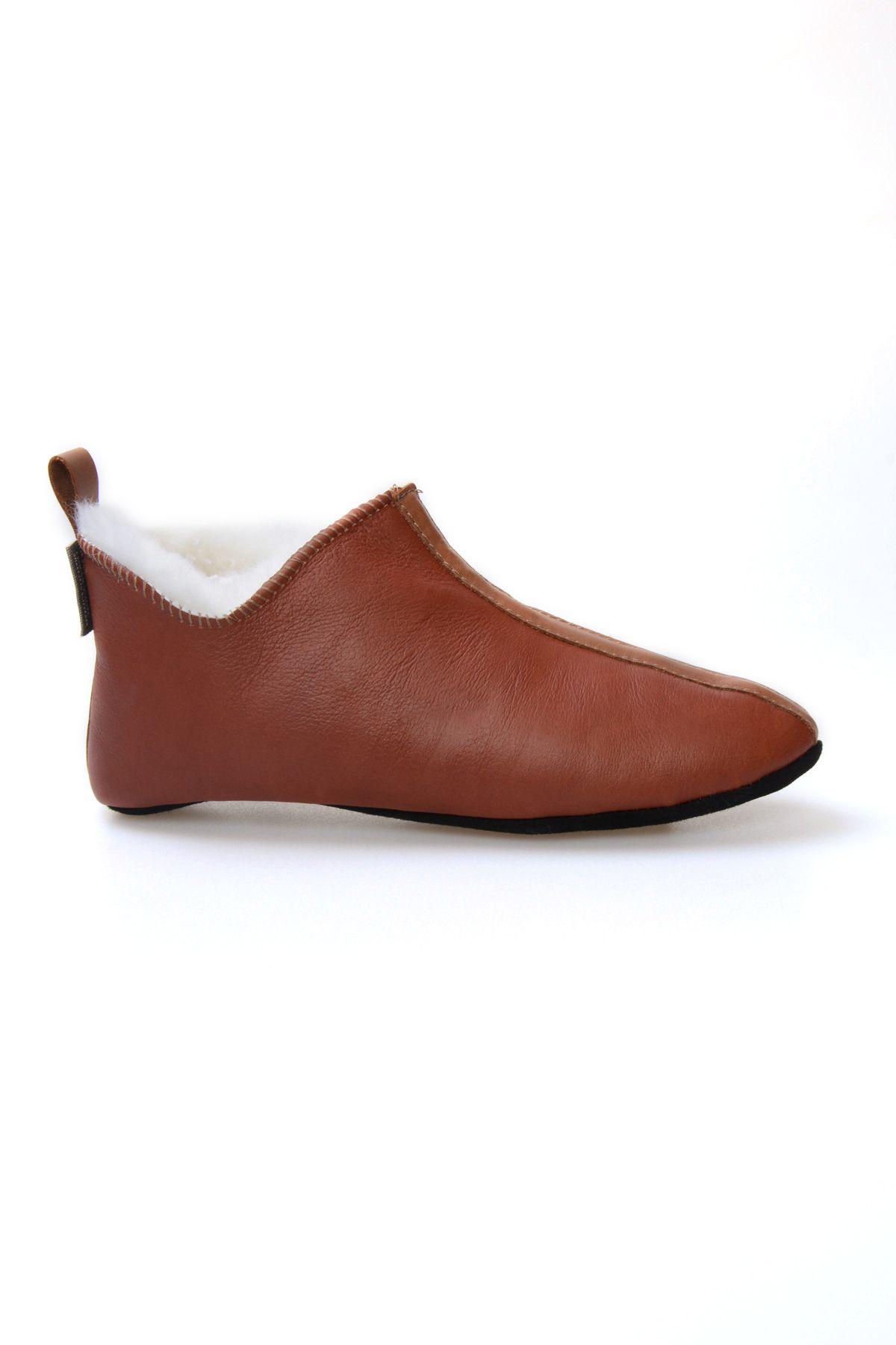 Pegia Hakiki Kürklü Süet Erkek Ev Ayakkabısı 980559 Ginger