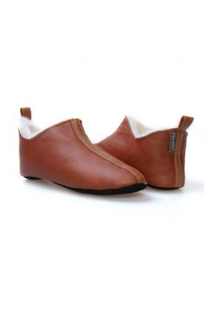 Pegia Hakiki Kürklü Süet Erkek Ev Ayakkabısı 980559 Taba