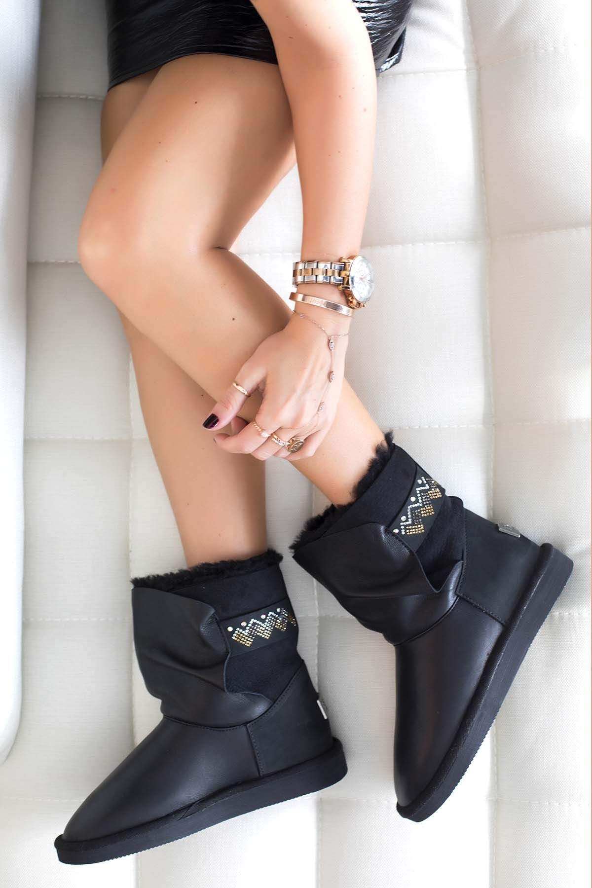 Pegia Women Boots From Genuine Fur Decorated With Jewels Black