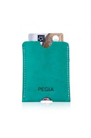 Pegia Hakiki Nubuk Deri Kartlık Cüzdan 19CZ202 Yeşil