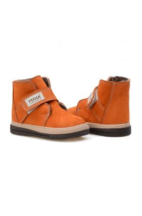 Pegia Genuine Sheepskin Lined Kid's Boots 186025 Orange