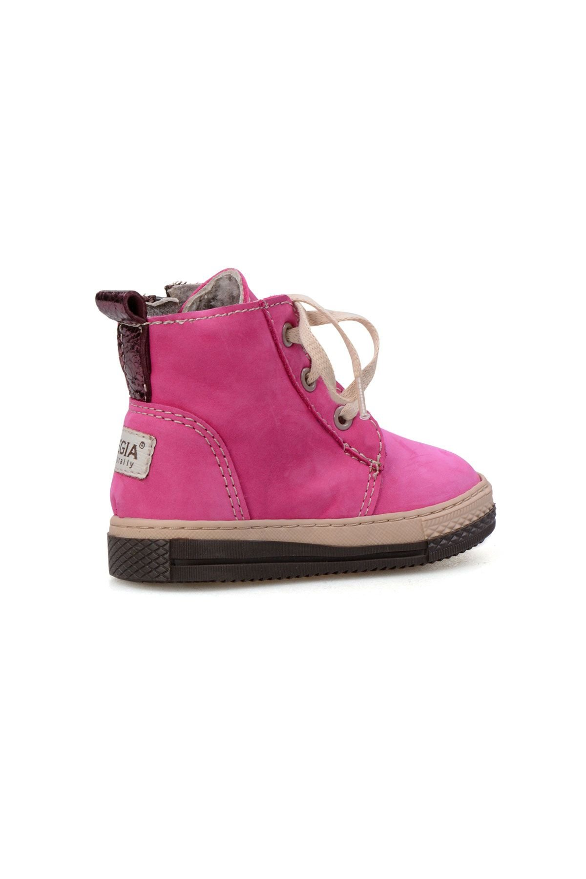 Pegia Genuine Sheepskin Lined Kid's Boots 186024 Pink