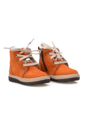 Pegia Genuine Sheepskin Lined Kid's Boots 186024 Orange