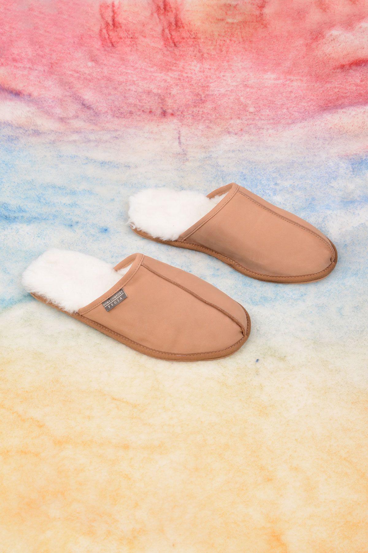 Pegia Genuine Nubuck Men's House Slippers 111013 Beige