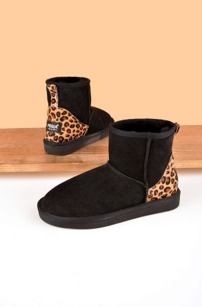Pegia Short Women's Sheepskin Boots From Genuine Suede With Leopard Print 191026 Black