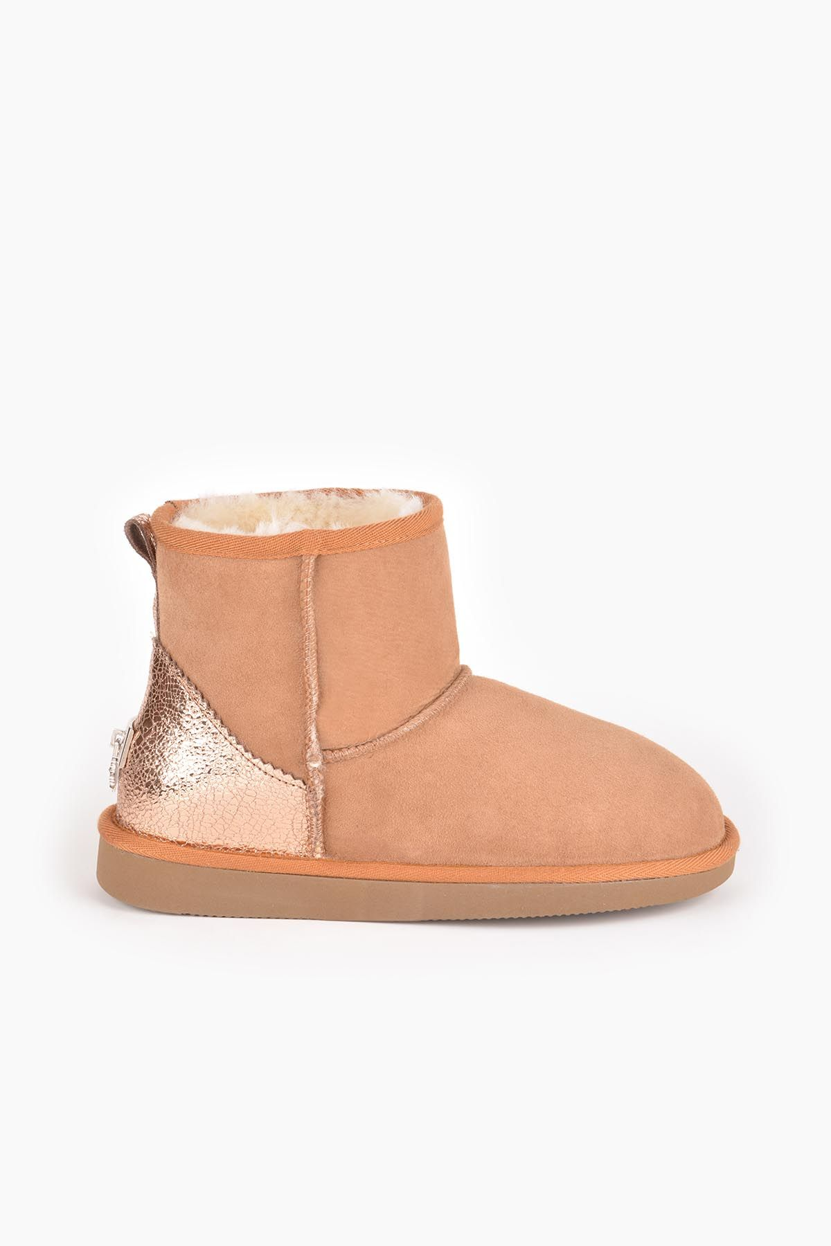 Pegia Women Boots From Genuine Suede And Sheepskin Fur Decorated With Leather 191074 Ginger