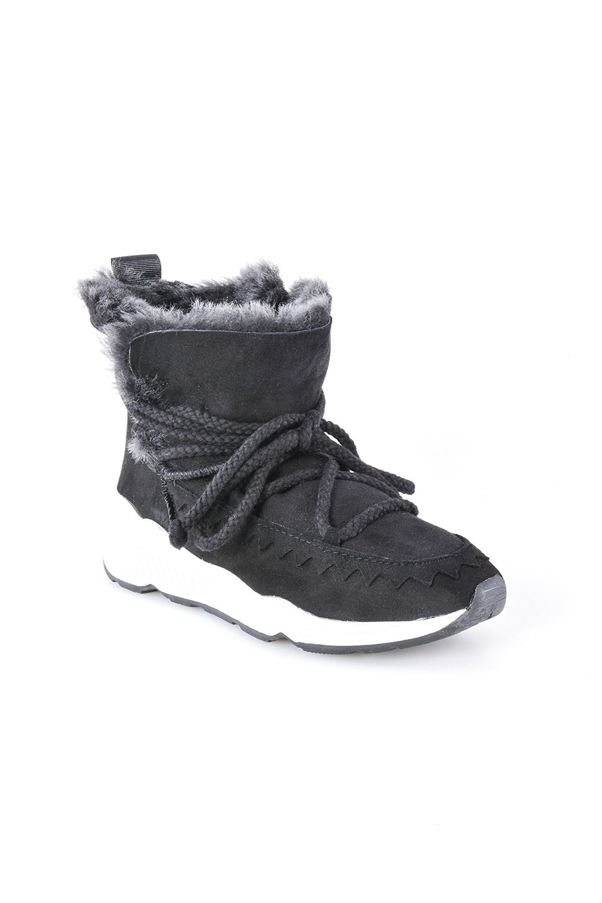 Pegia Laced Women Boots From Genuine Suede And Sheepskin Black