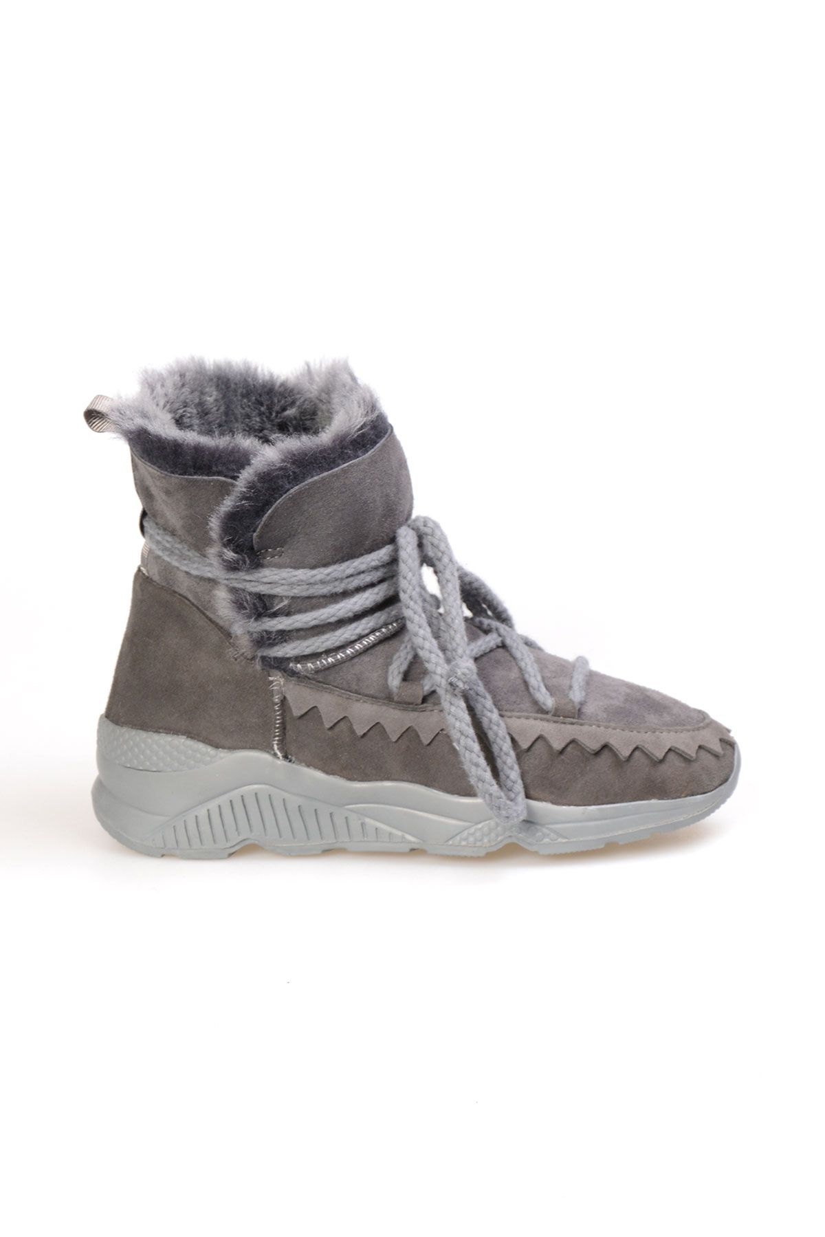 Pegia Laced Women Boots From Genuine Suede And Sheepskin Gray