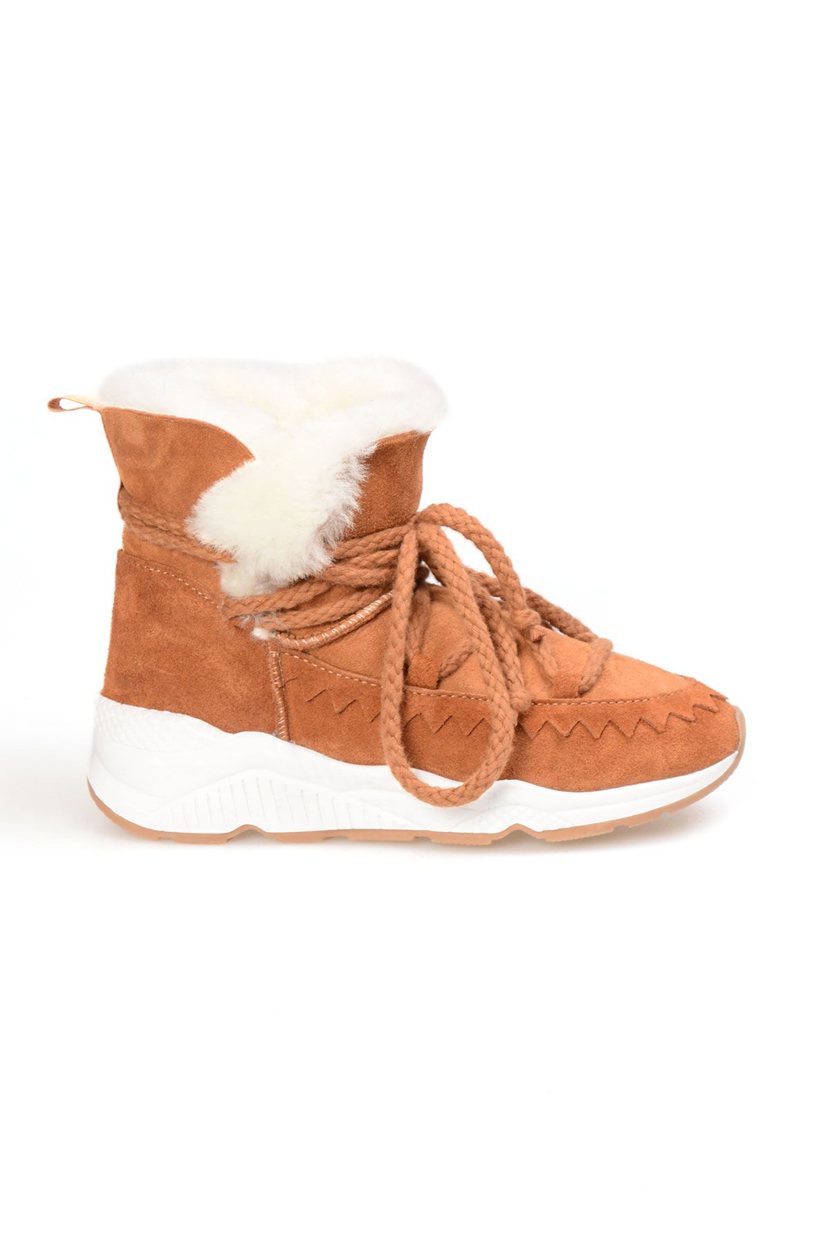Pegia Laced Women Boots From Genuine Suede And Sheepskin Ginger