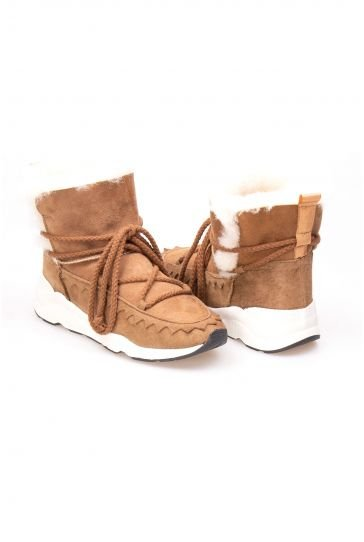 Pegia Laced Women Boots From Genuine Suede And Sheepskin Sand-colored