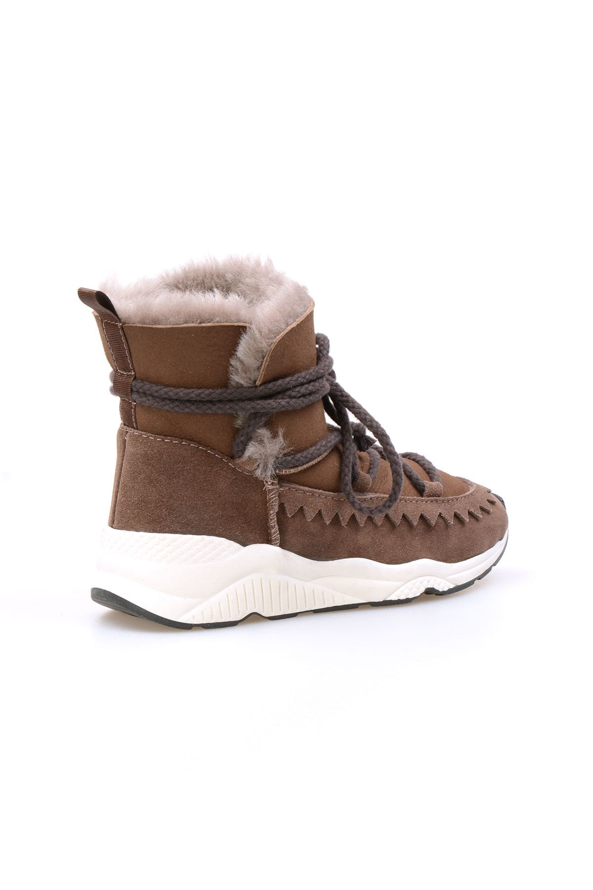 Pegia Laced Women Boots From Genuine Suede And Sheepskin Visone