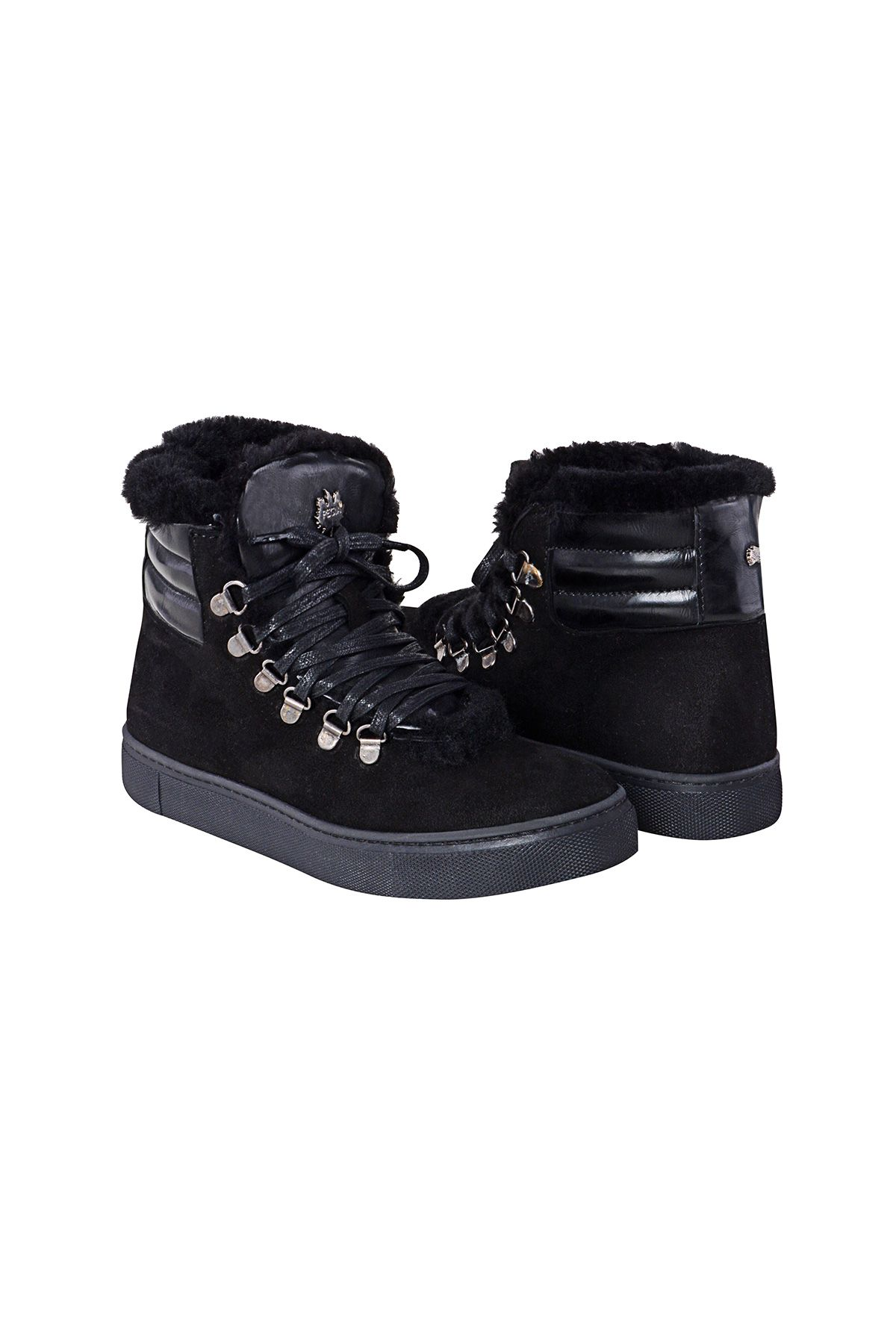 Pegia Genuine Suede & Shearling Laced Women's Boots 197013 Black
