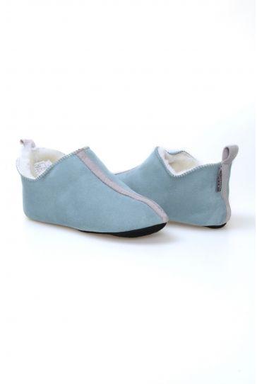 Pegia Hakiki Süet İçi Kürk Bayan Ev Ayakkabısı 191094 Turkuaz